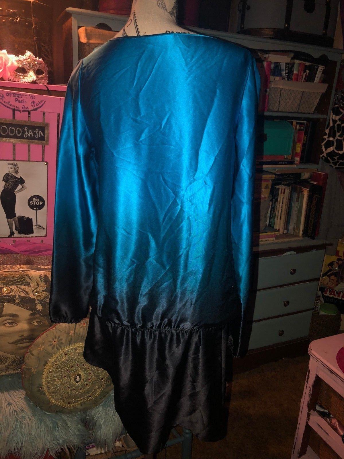 SCOOP BEACH Regal Cobalt Blue + Midnight Black Ombre Silk Dress Size M