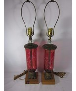 Vintage Etched Red Glass Table Lamp Pair - $346.49