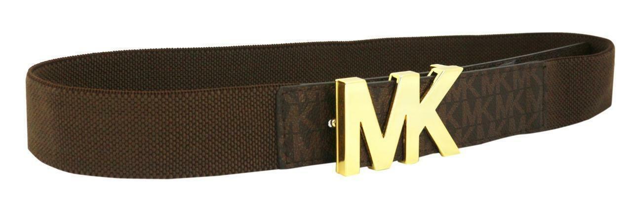 Michael Kors Women's Mk Logo Premium Faux Leather Canvas Belt Brown 551510