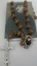 Santa Maria Faustina Rosario de madera con Oracion Saint Mary Faustine R... - $12.00