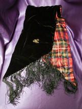 "Ralph Lauren Black Velvet & Tartan Plaid Silk Scarf W/ Fringe - 58"" x 8"" - $44.55"