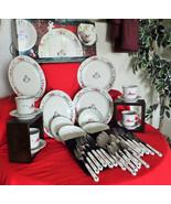 "Pfaltzgraff 16pc. ""Snow Village"" Dishes, +20pc.matching silverware,both ... - $135.00"