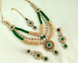 Indian Bollywood Green Gold Plated Fashion Rhinestone Bridal Jewelry NecklaceSet - $35.99