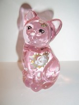 "Fenton Glass Pink Chiffon ""Smiles For You"" Mini Kitten Cat Figurine - $33.95"