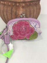 Coach Lurex Flower Applique Kisslock Lilac Wristlet Coin S1765 W9 - $98.95