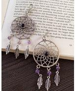 Dream catcher earrings women, amethyst dangle earrings, boho brass earrings - $22.95
