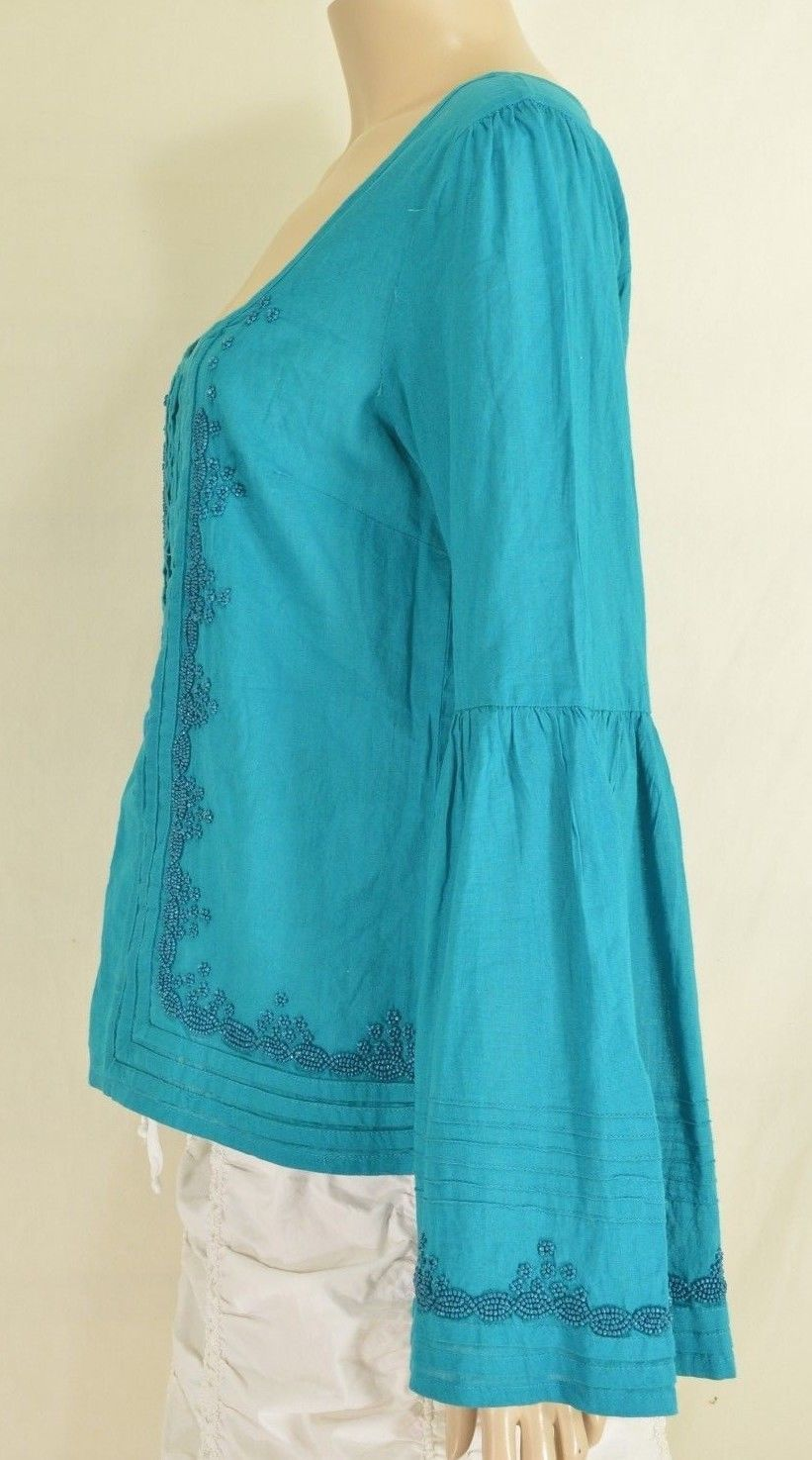 Free People top SZ S turquoise teal beaded long bell sleeves hippie boho gypsy image 2