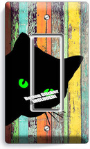 Peeking Black Cat Green Eyes Rustic Wood 1 Gfi Light Switch Wall Plate Art Decor - $8.99