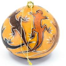 Handcrafted Carved Gourd Art Lizard Gecko Design Ornament Made in Peru image 2