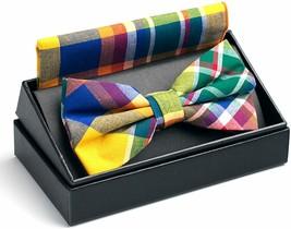 Cotton Adjustable Tuxedo Handmade Bow Tie & Handkerchief Set, Great Gift... - $13.85