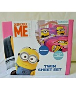 Despicable Me Minion Twin Sheet Set Microfiber Pink Purple NEW - $23.99