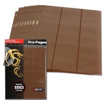 50 BCW GAMING SIDE LOADING 18-POCKET PRO BINDER PAGES - MTG - BROWN - $30.67