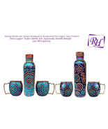 Handmade Pure Copper Outer Hand Painted Art Work Water Bottle (Joint Free ) - $84.56