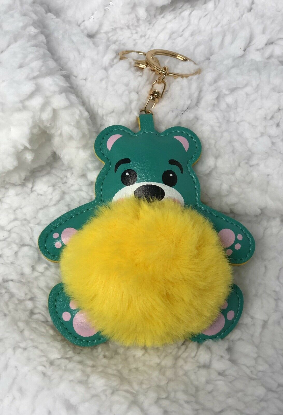 Primary image for Cute Fuzzy Bear Keychain Handbag purse Backpack Charm US seller