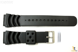 22mm for TIMEX  Q7B722  Divers Heavy Black Plastic Watch Band Strap w/ 2 Pins - $12.54