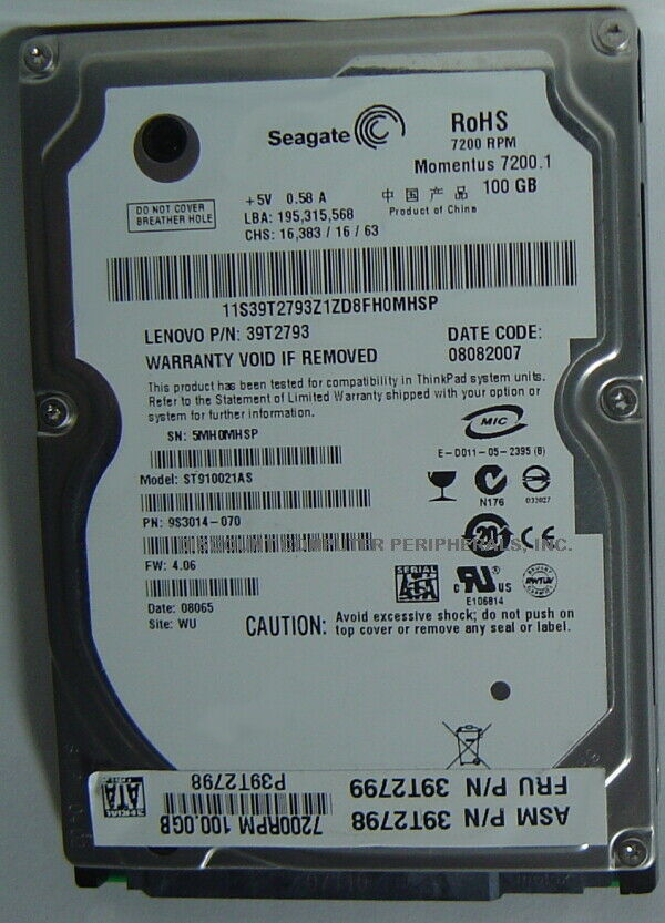 "New ST910021AS Seagate 100GB 7200RPM SATA 2.5"" 9.5MM Hard Drive Free US Ship"
