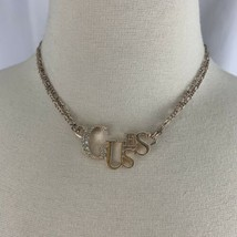 Guess Rose Gold Tone Necklace Spell Out Clear Rhinestone Double Chain Signed  - $14.80