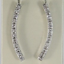 EARRINGS SILVER 925 TRIED AND TESTED WITH BAR LINE RIGID WITH ZIRCON CUBIC WHITE image 1