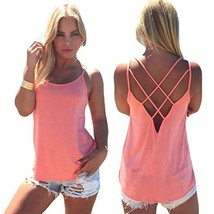 Women's Cute Criss Cross Back Tank Tops Loose Hollow Out Camisole ShirtP... - $19.76