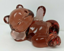 Fenton Glass Rose Pink Reclining Bear Laying Down - $14.85