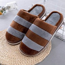 Unisex Home Slippers Soft Flock Warm Cotton Comfortable Striped Indoor S... - $18.99