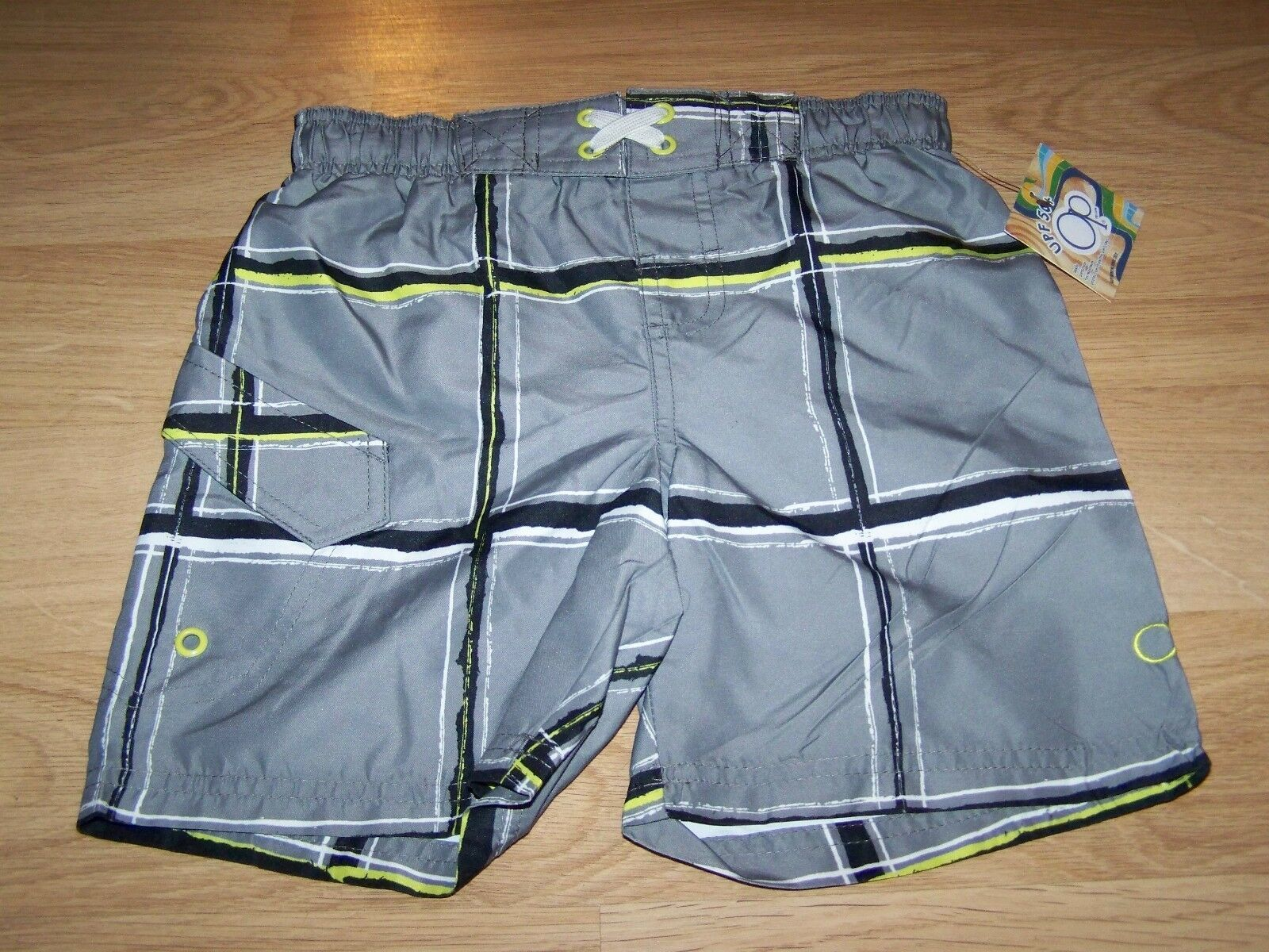Primary image for Size XS 4-5 OP Ocean Pacific Board Shorts Swim Trunks Gray Black White Lime New