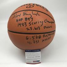 Autographed/Signed ALEX ENGLISH Career Stat F/S Spalding Basketball PSA/... - $199.99