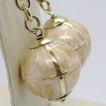 925 STERLING YELLOW SILVER PENDANT EARRINGS WITH BALL, BIG ENAMELED SPHERE, ROLO image 3