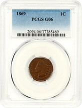 1869 1c PCGS Good-06 - Indian Cent - Scarce Date - $160.05