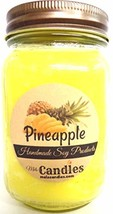 Pineapple 16 Ounce Country Jar 100% Handmade Soy Candle - $17.33