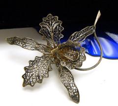 Vintage 800 Silver Filigree Wirework Orchid Large Brooch - $34.64