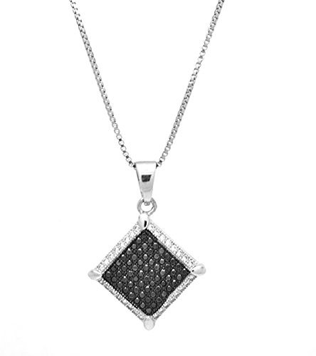 925 Sterling Silver White and Black Cubic Zirconia Pendant with Silver Chain