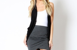 Black Rayon Vest, Black Open Front Sleeveless Rayon Layering Cardigan