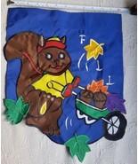 1999 Porch flag squirrel pumpkins FALL  nylon display pre-owned  - $14.03