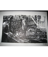WWII WH German Wounded Soldiers Field Hospital Fine Art Print Original D... - $19.79
