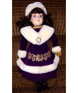 "Collectible Ceramic 17.5"" Doll In Purple Dress - Limited Edition - $34.99"