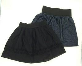 Lot Of 2 Skirts Black with Flowers Skirt Navy Skirt Girls Size M 10-12  - $12.50