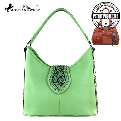 Tooling Collection Montana West Conceal Carry Satchel Handbag Green