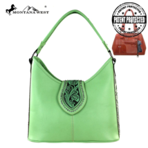 Tooling Collection Montana West Conceal Carry Satchel Handbag Green image 1