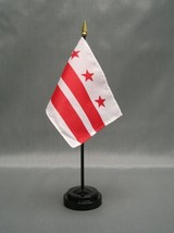 """District Of Colombia 4X6"""" Table Top Flag W/ Base New Desktop Handheld Stick Flag - $4.95"""