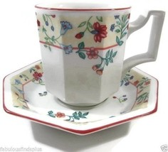 Johnson Brothers Heritage Enchantment  4 Cups and 3 Saucer Florals Red T... - $28.22