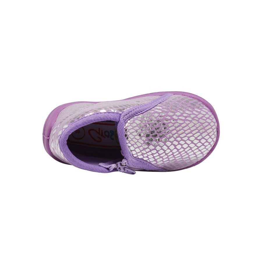 Toddler Girls Slippers Grosby Rattle Pink//Purple with Silver Zip Up Slipper 3-8
