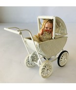 Victorian Style Mini Doll in Lace Dress (Italy) + Baby Buggy Dollhouse A... - $38.69
