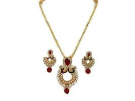 Indian Bollywood Ethnic Asian Gold Plated Traditional Necklace Earrings ... - $14.75