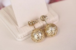 AUTH BNIB DIOR MISE EN TRIBAL GOLD CANNAGE PEARL EARRINGS
