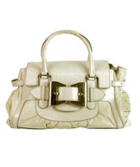 GUCCI Queen White Leather Large Bow Buckle Flap Top Boston Bag Satchel H... - $425.70