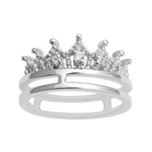 Stackable 925 Silver White Topaz 3 Stone Crown Princess Wedding Engageme... - $16.05