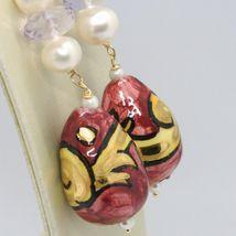 Pendientes de Oro Amarillo 750 18K Perlas Fw Cerámica Pintado a Mano Made IN image 3