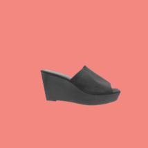 CALVIN KLEIN Sanika Wedge Block Heel Mule Black Sandals Size 9.5 - $56.99