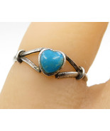 925 Sterling Silver - Vintage Inlay Turquoise Love Heart Band Ring Sz 7 ... - $26.49
